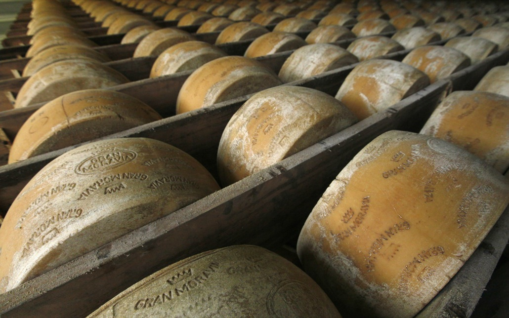 Wheels of parmesan are stored on shelves to mature at a diary plant in Litovel