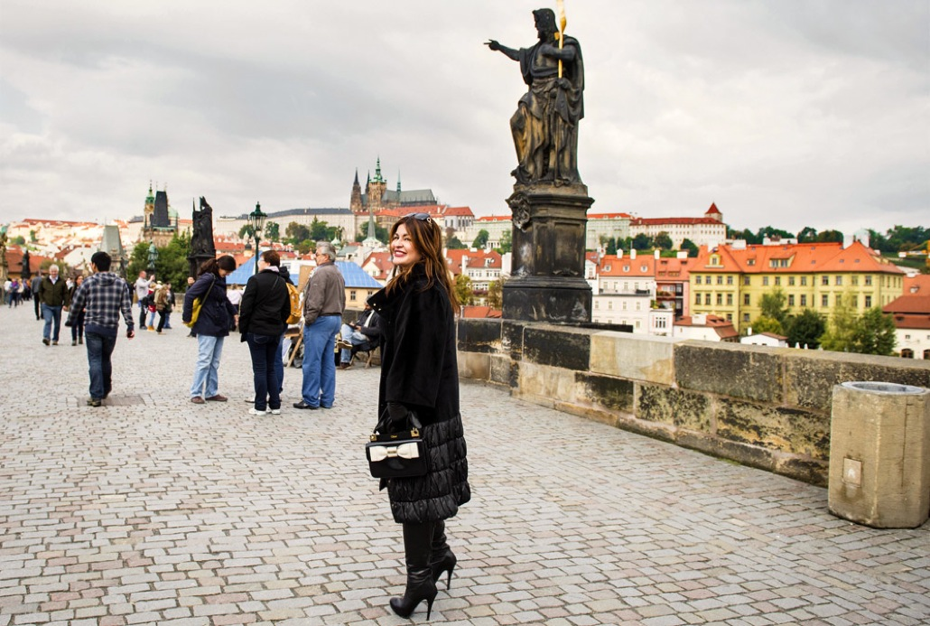 Veronika Dzioeva on Charles Bridge